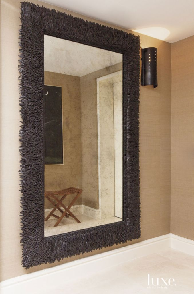 contemporary coconut shell foyer mirror luxe interiors design