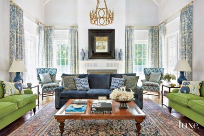 Traditional White Living Room With Blue And Green Sofas   Luxe Interiors +  Design Part 78