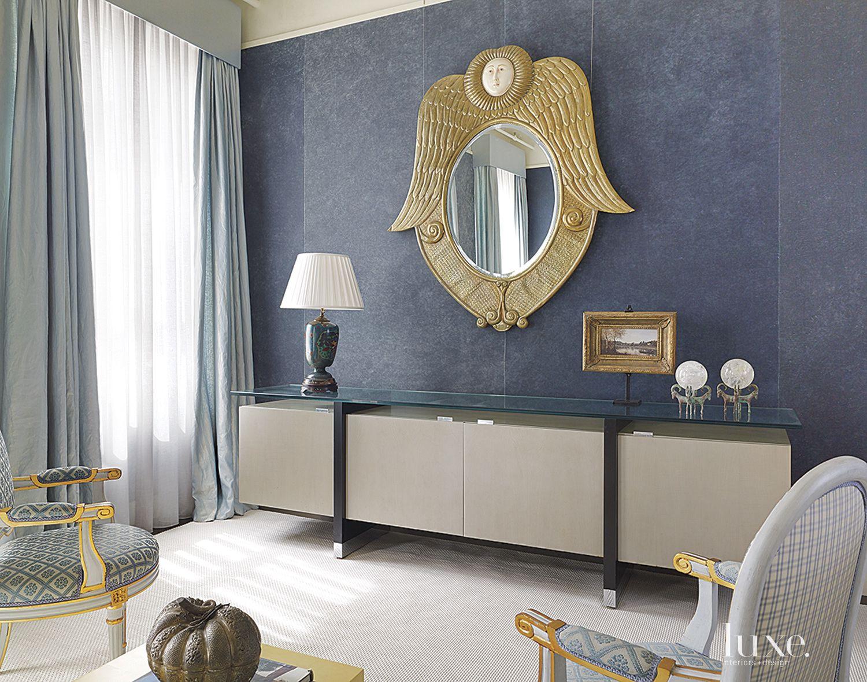 Contemporary Blue Master Bedroom Console