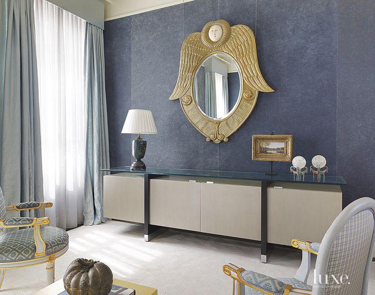 Contemporary Blue Master Bedroom Console - Luxe Interiors + Design