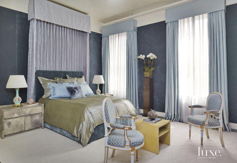 Contemporary Blue Master Bedroom - Luxe Interiors + Design