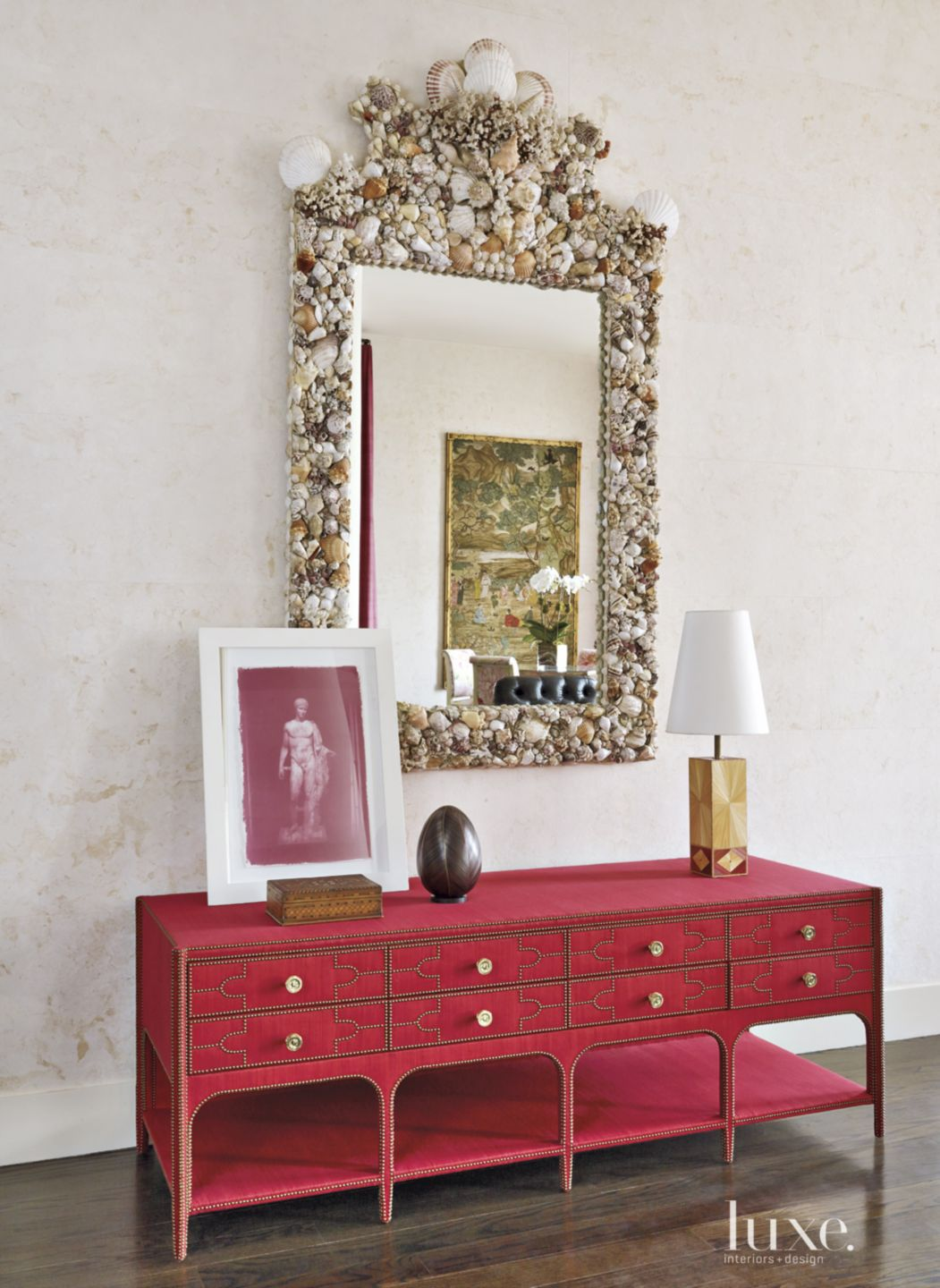 Contemporary Living Room Red Console