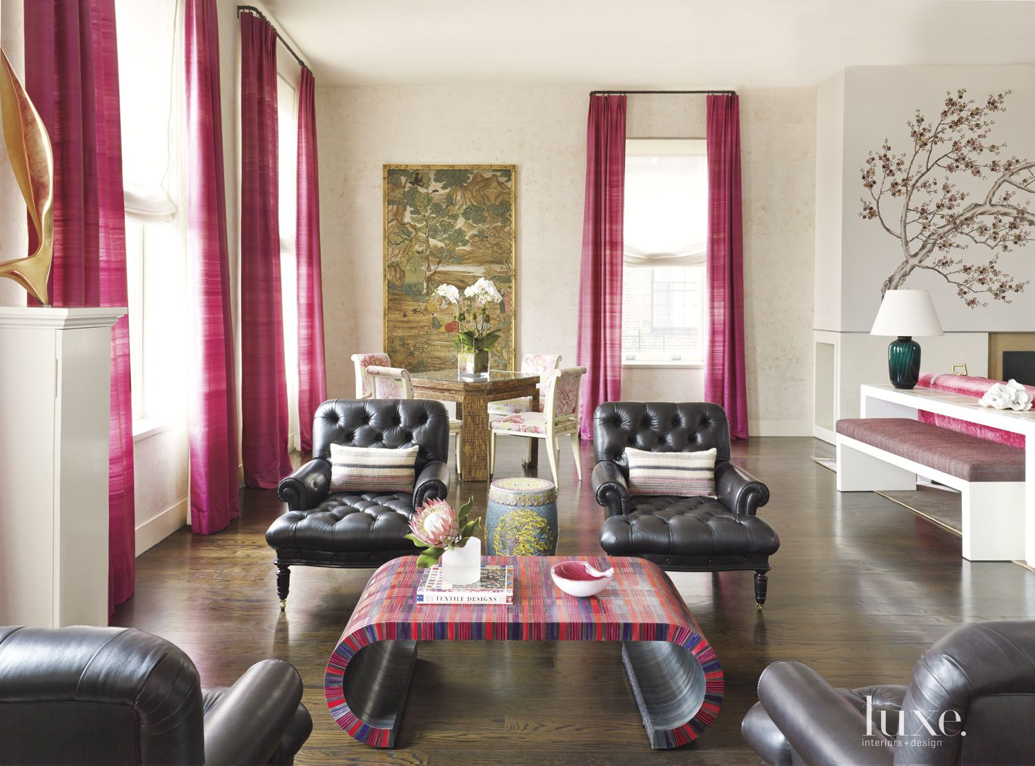 Contemporary Pink-Accented Sitting Area