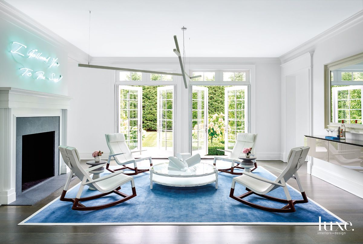 Contemporary White Lounge Area with Rockers