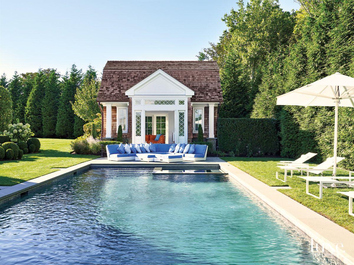 Contemporary Western Cedar-Clad Pool House with Dutch Gambrel-Style Influences
