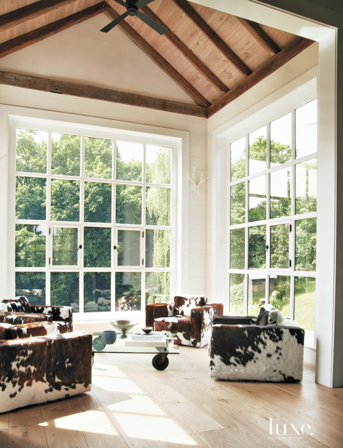 Country White Sunroom with Picture Windows