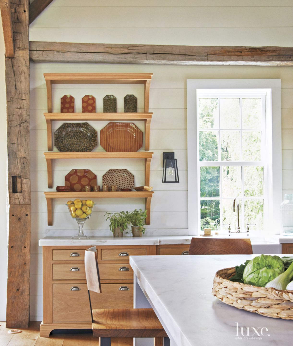 Country White Kitchen with Open Shelves