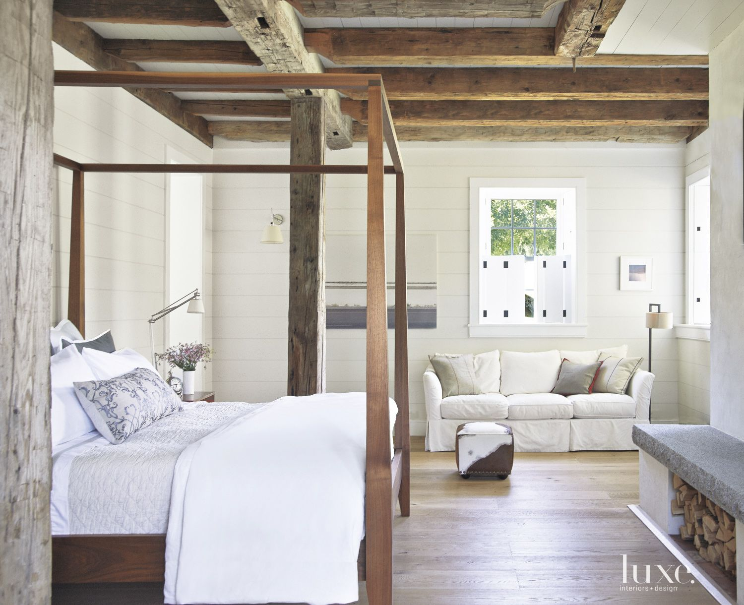 Country White Bedroom with Black Walnut Bed