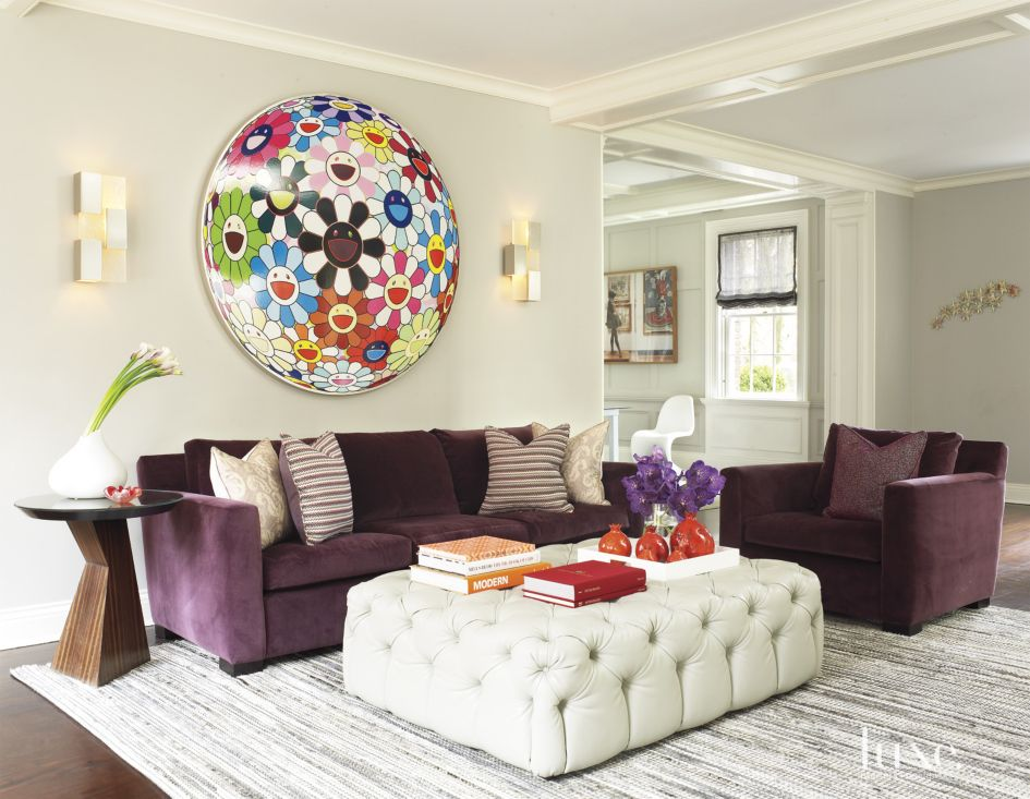 Eclectic White Living Room with Murakami Art - Luxe ...