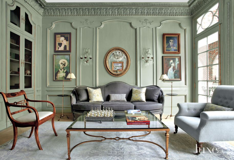 Traditional Green Living Room with Charcoal Gray Sofa