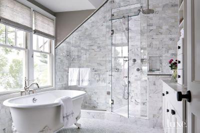 Contemporary Master Bath Clawfoot Tub Luxe Interiors Design