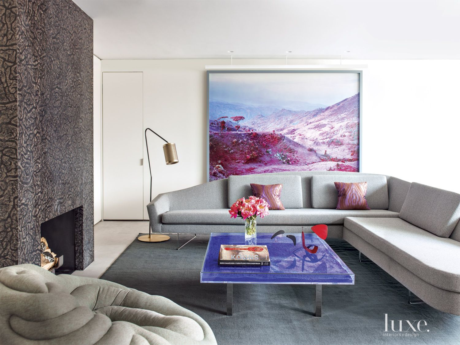 Modern Neutral Living Room with Violet Coffee Table