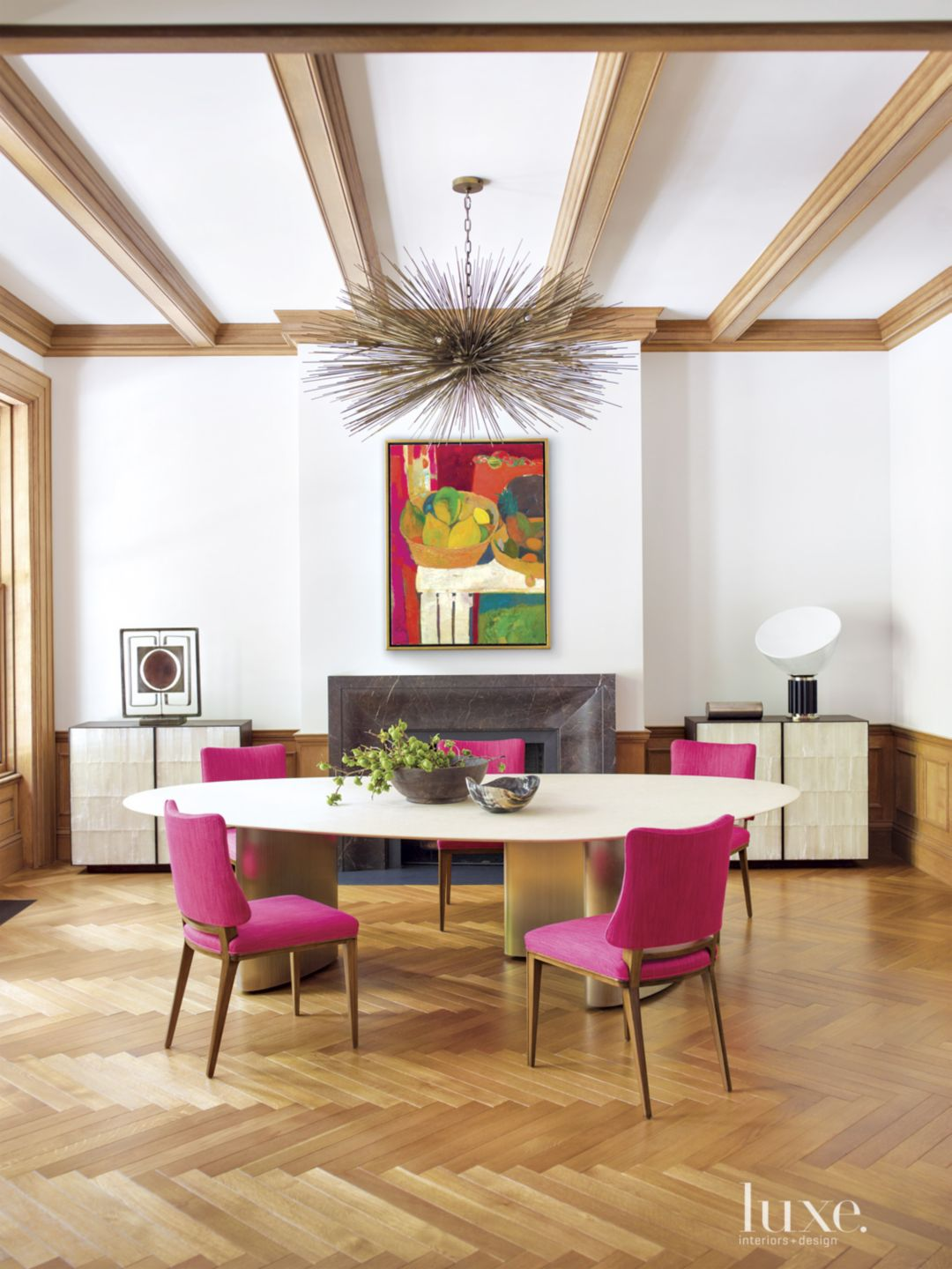 Modern Dining Room with Bright Oil Painiting