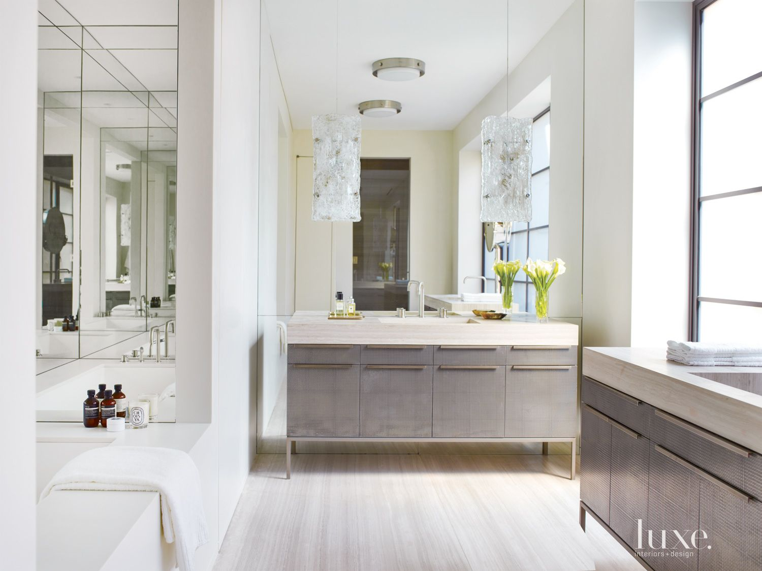 Modern Neutral Bathroom with Opaque Window