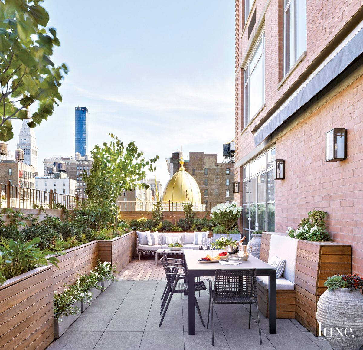 Transitional Neutral Terrace with City Views