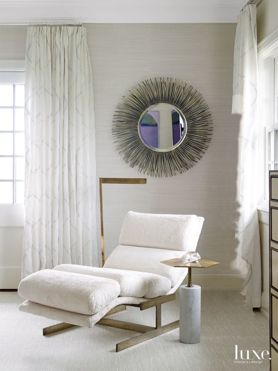 Modern Cream Bedroom Seating Area with Vintage Chaise - Luxe ...