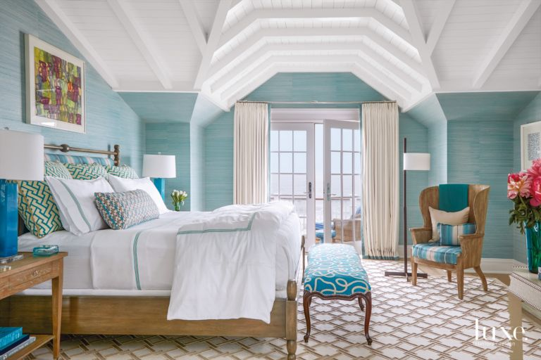 Contemporary Turquoise Master Bedroom With Barrel Chair