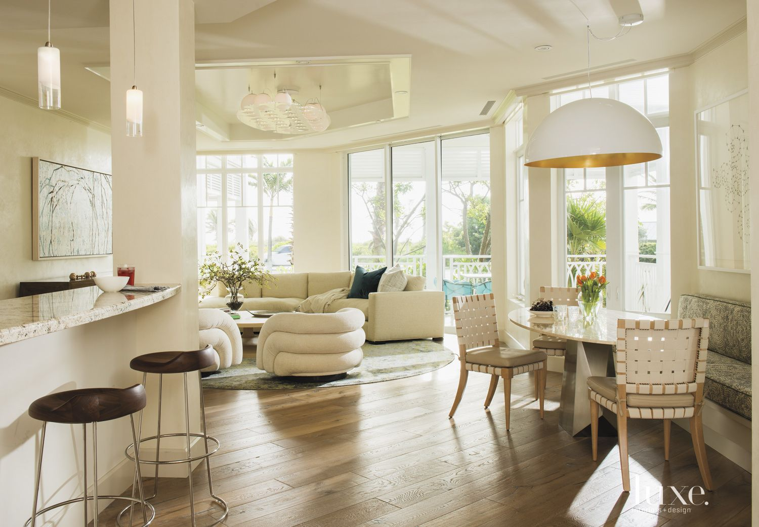 Eclectic Cream Dining Area with Open Plan