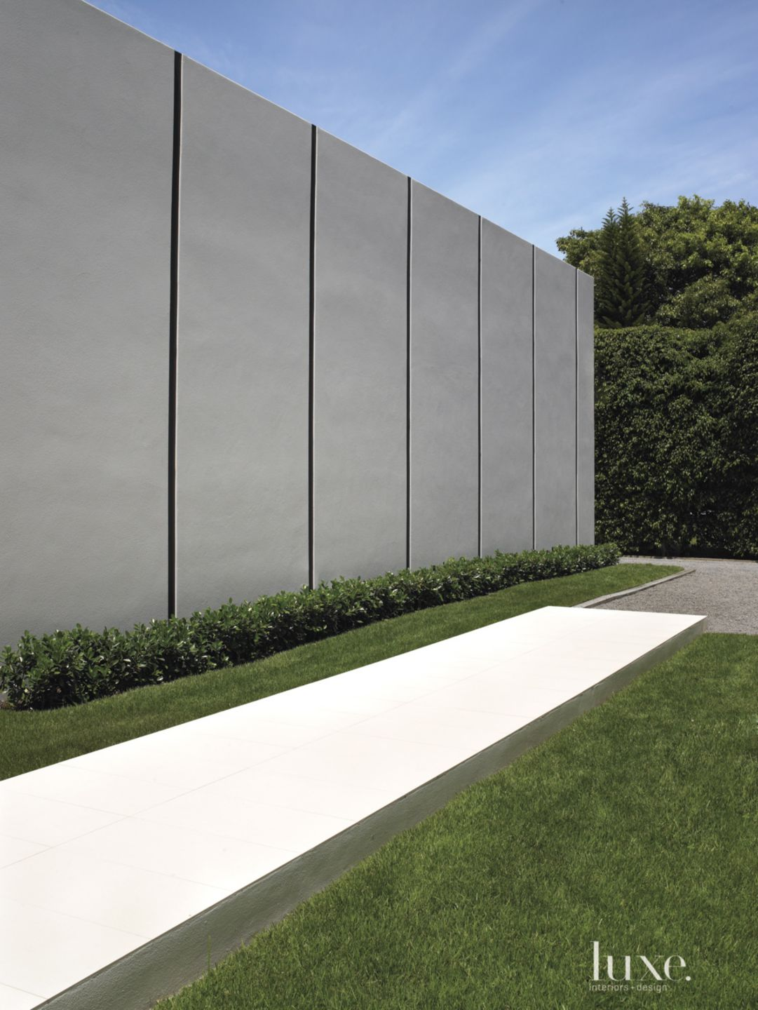Modern Gray Exterior Detail with Porcelain Walkway