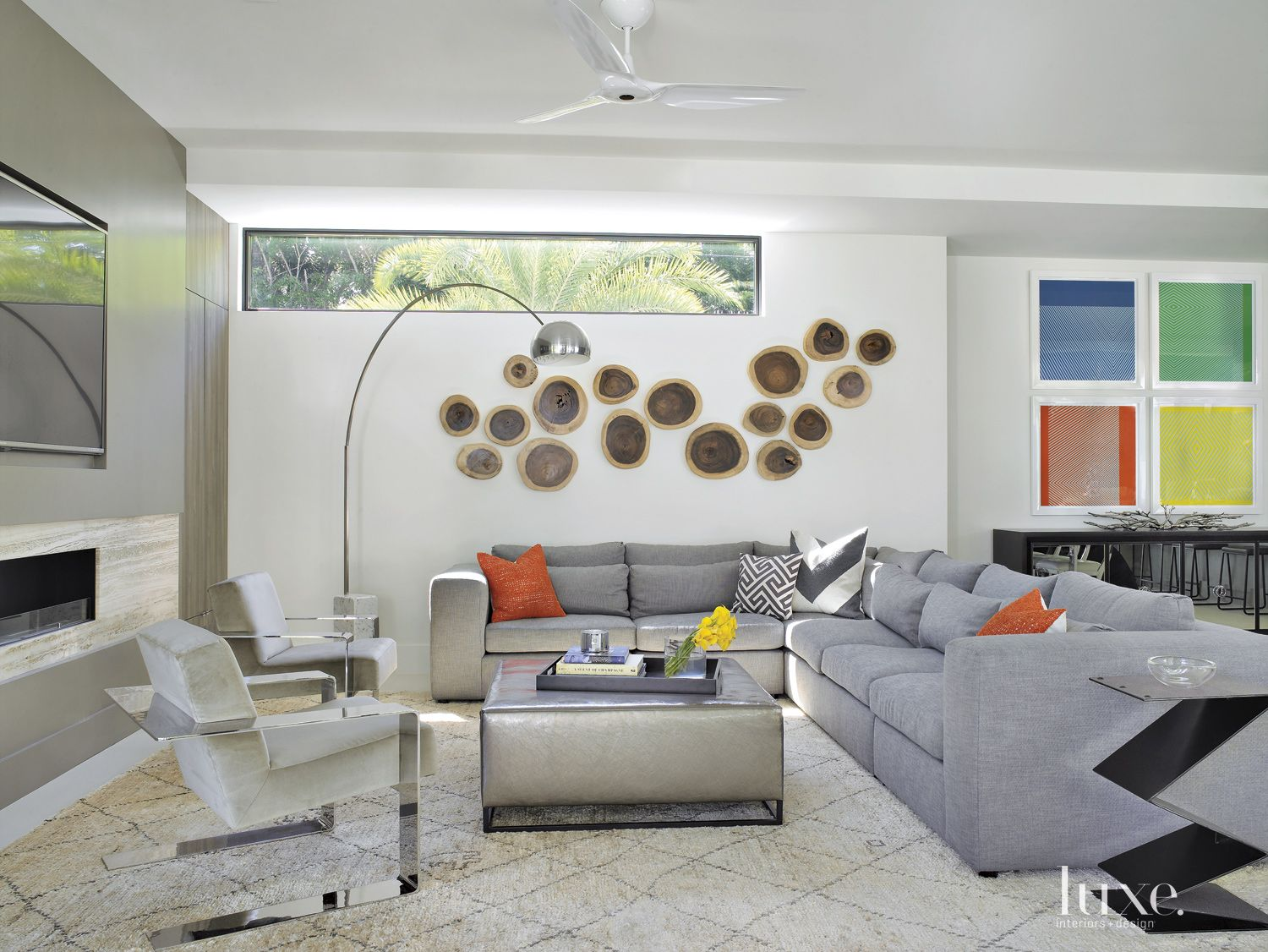 Contemporary White Living Room with Wood Wall Tiles