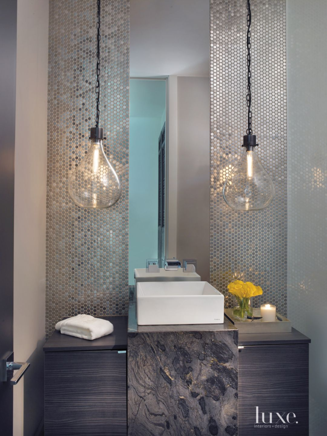 Contemporary Neutral Powder Room with Penny Round Mosaic