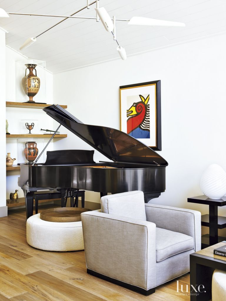 Contemporary White Living Room with Grand Piano - Luxe Interiors + ...
