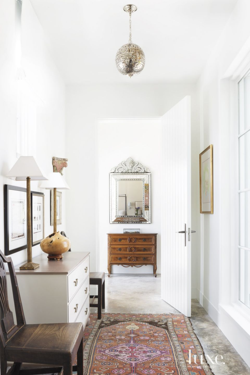 Modern White Hall with Vintage Oriental Rug