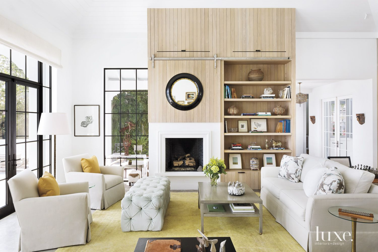 Modern Neutral Living Room with White Oak Wall