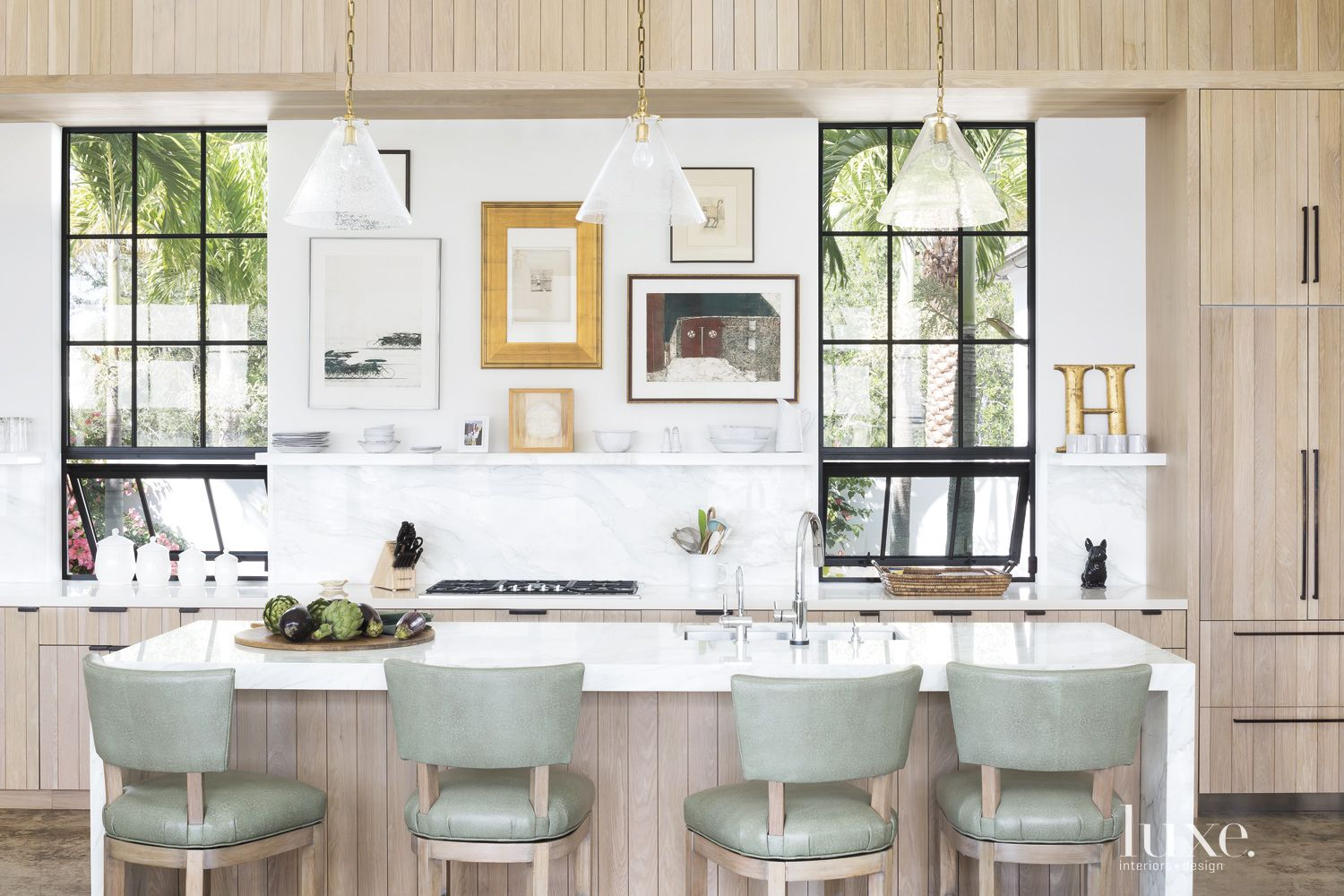 Modern Neutral Kitchen with Shagreen Stools