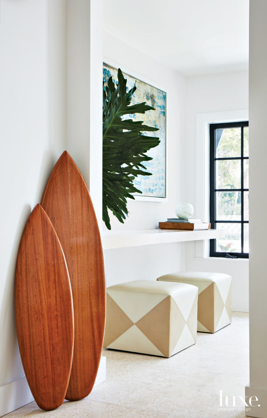 Modern White Entry with Coastal-Inspired Accents