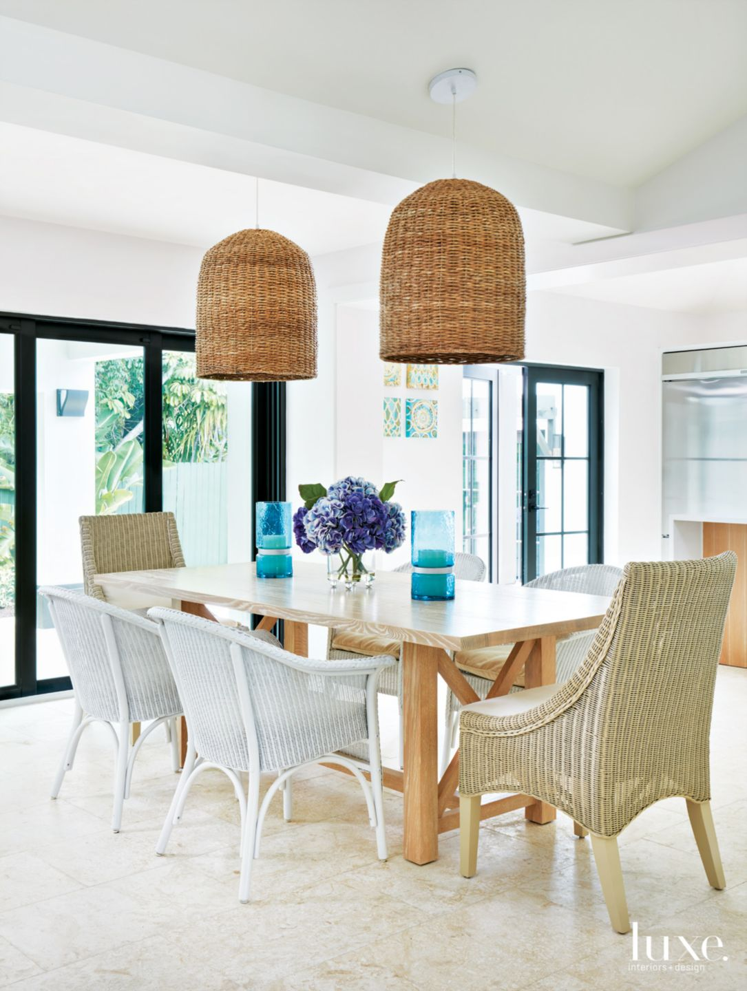 Modern White Dining Room with Basket Chandeliers