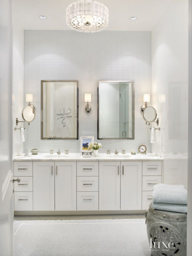 Traditional White Master Bathroom with Glass Wall Tiles - Luxe ...