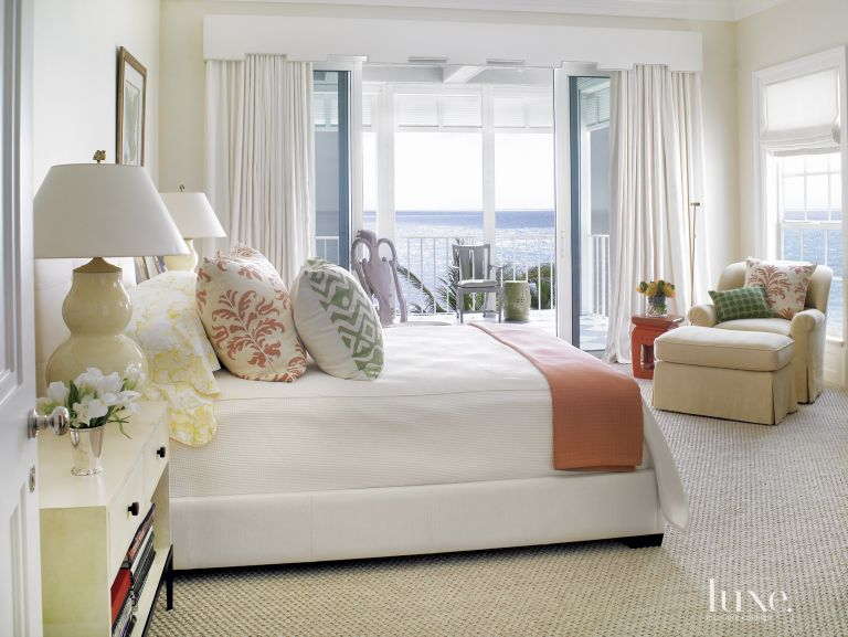 Eclectic White Master Bedroom with Orange Accents - Luxe Interiors + ...