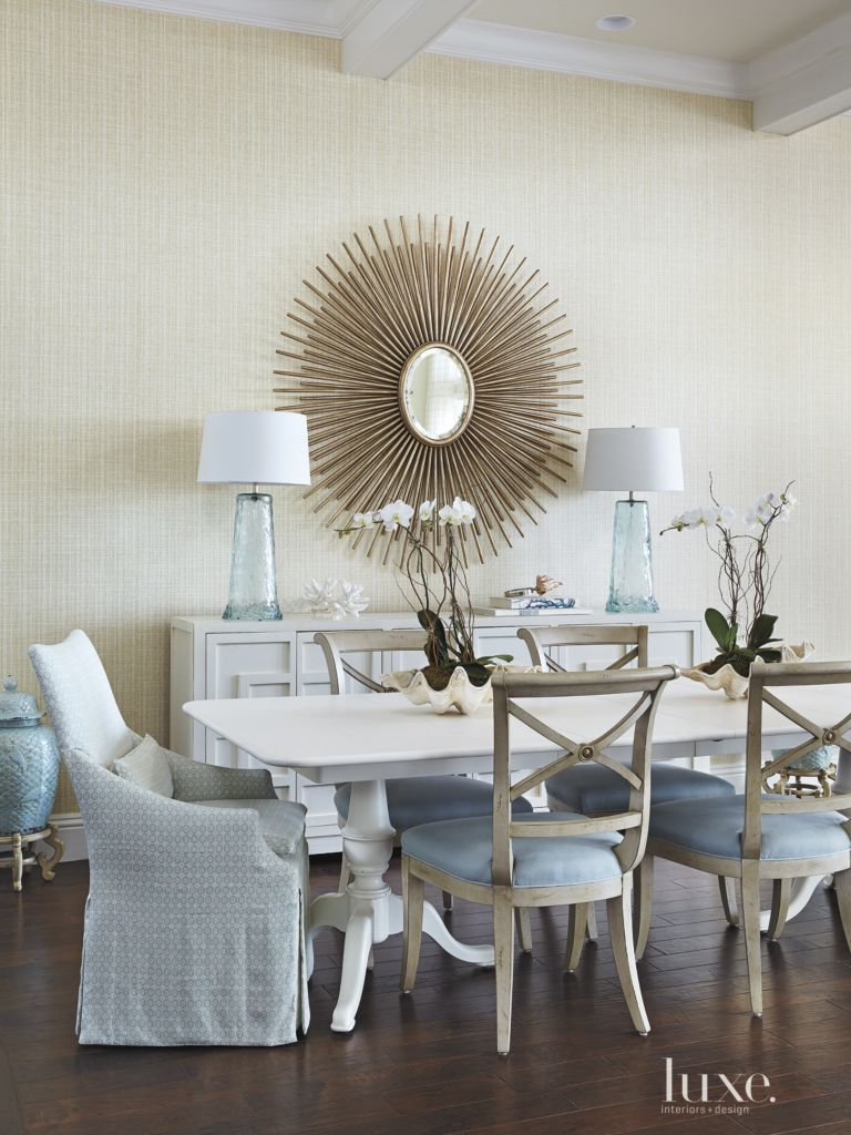Eclectic White Dining Room With Glass Lamps