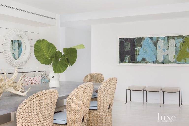 Eclectic White Dining Room Painting