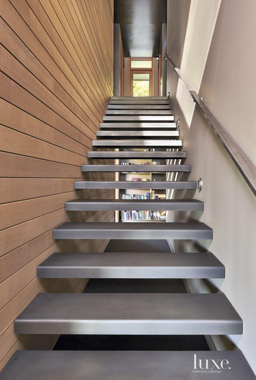 Contemporary Neutral Staircase with Cedar Siding