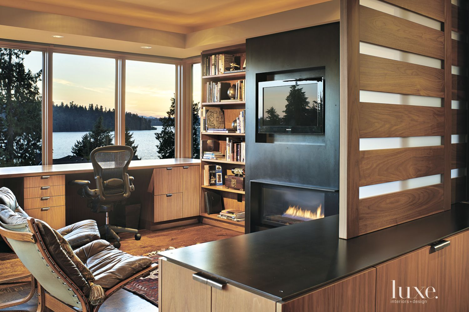 Contemporary Neutral Office with Lake Views