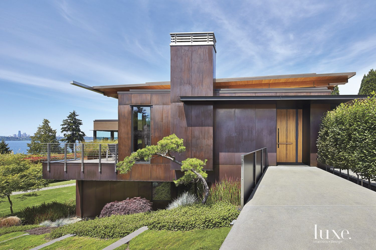 Contemporary Front Elevation with Lake Views