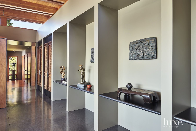 Contemporary Hallway with Exhibit Space