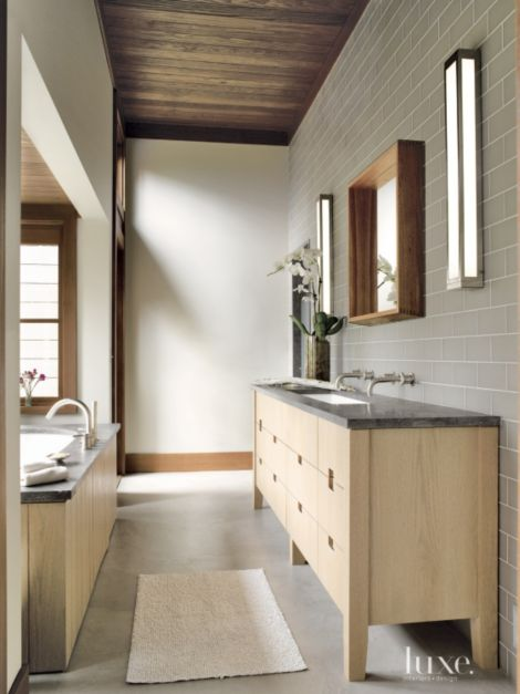 Mountain Master Bath With Gray Tiled Wall Luxe Interiors
