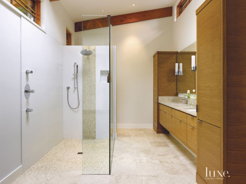 Contemporary White Bathroom With Travertine Floors Luxe Interiors Design