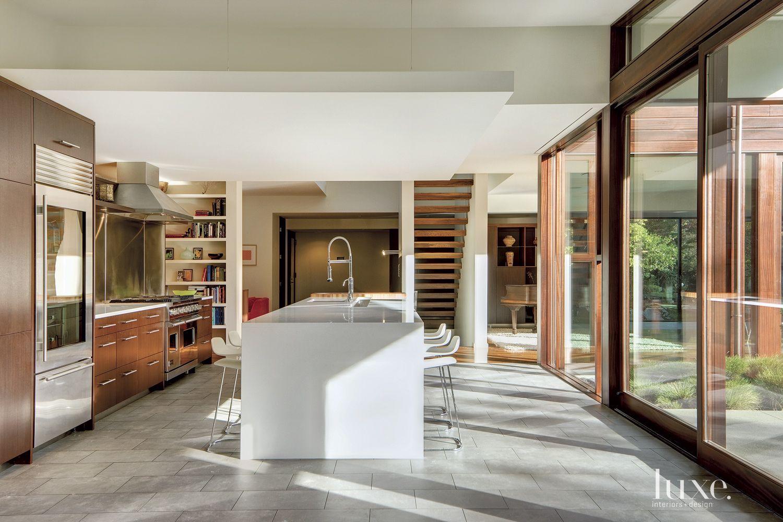 Modern White Kitchen with Large Island