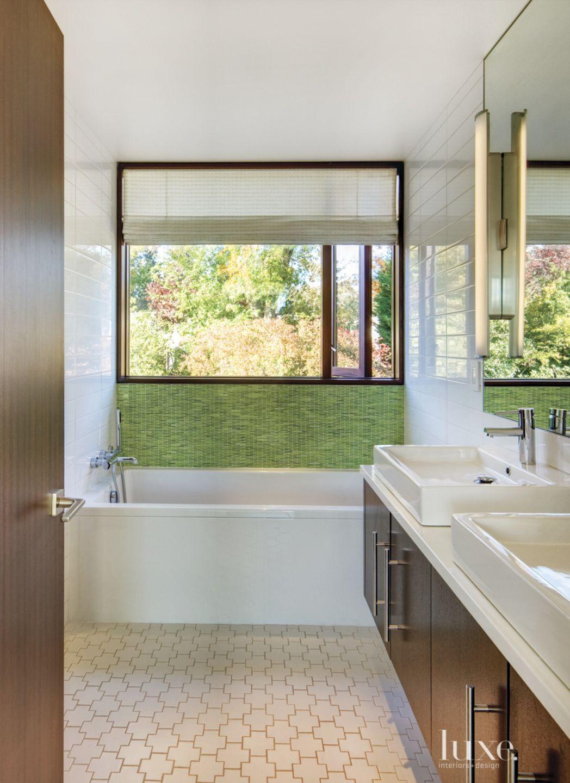 Modern White Bathroom with Green Mosaic