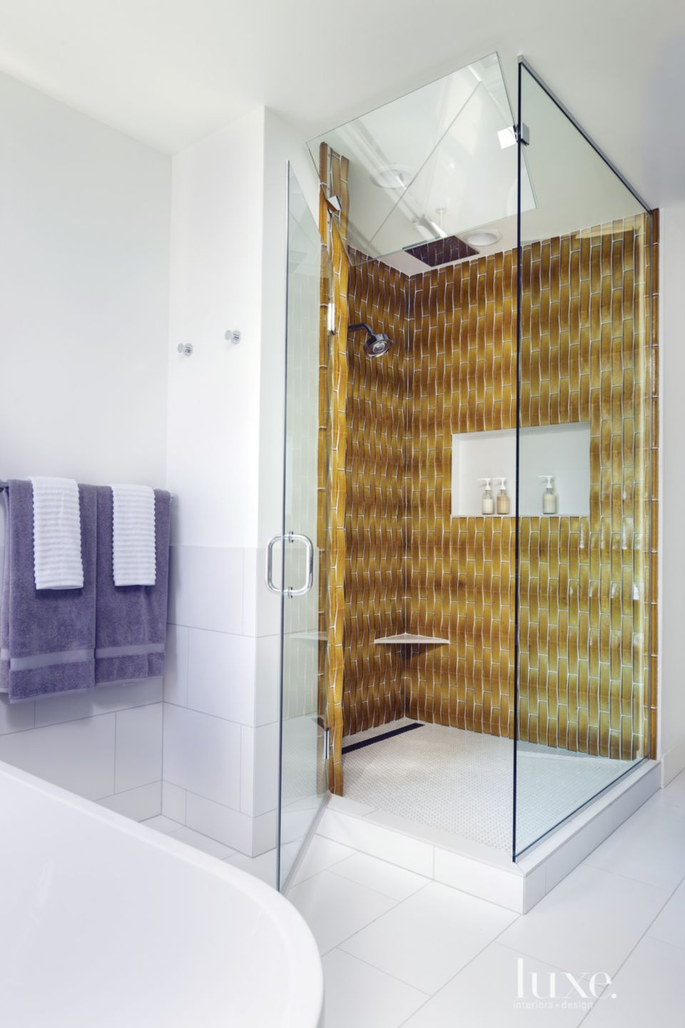 Modern White Bathroom with Yellow Tile Shower