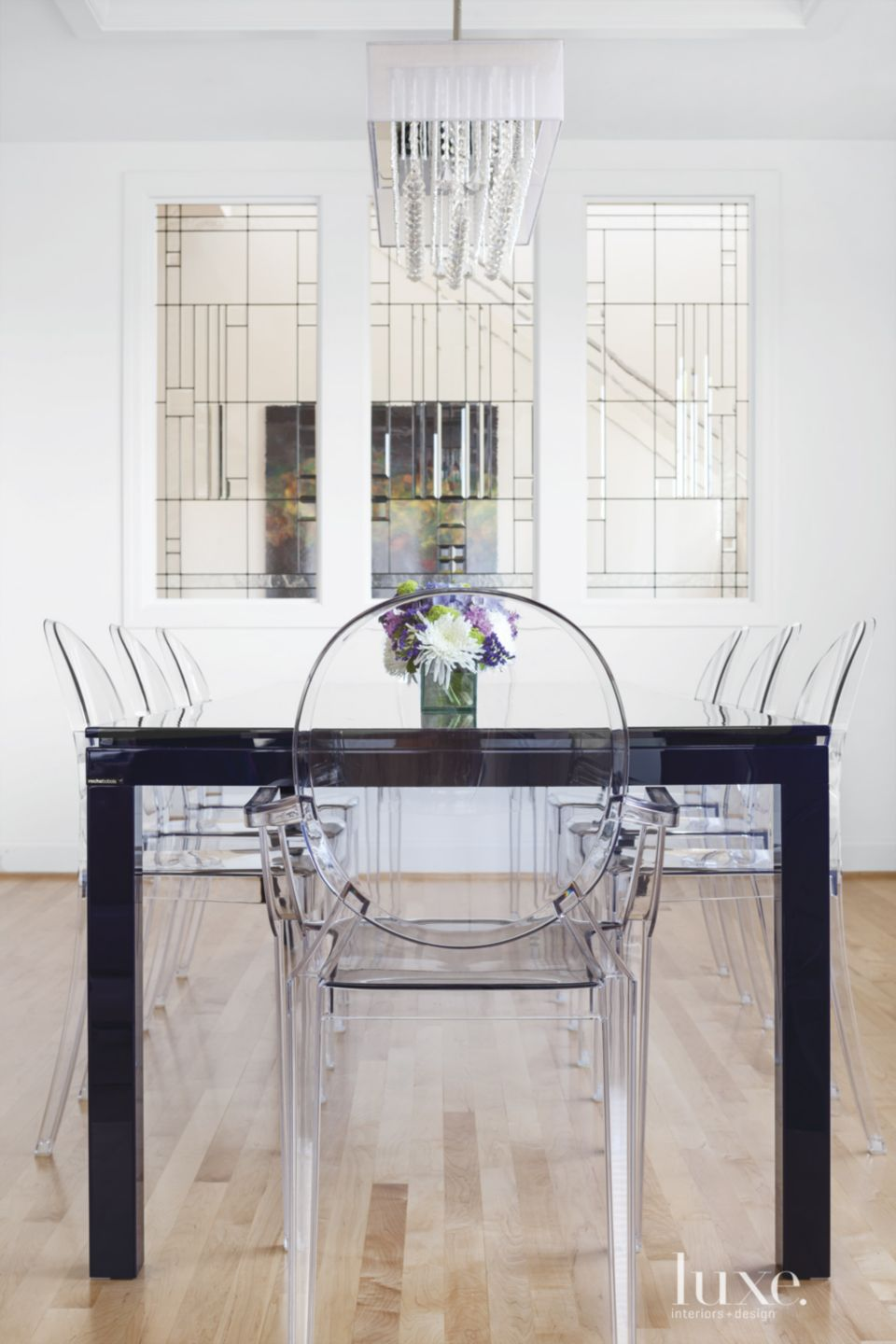 Modern White Dining Room with Violet Dining Table