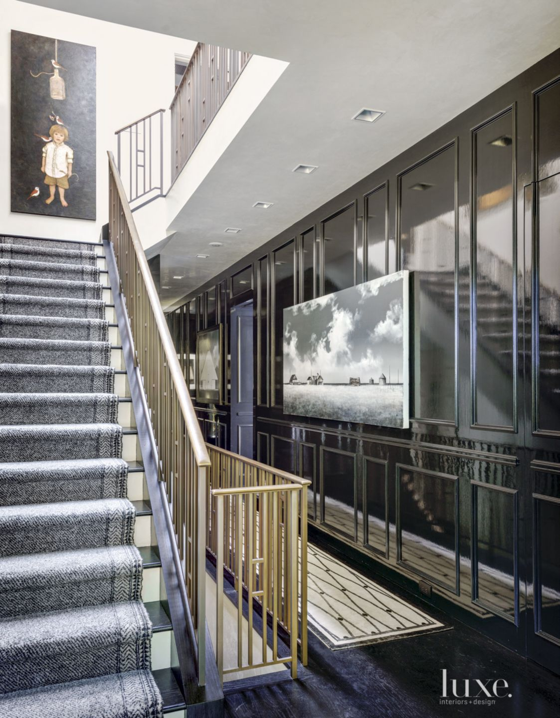 Contemporary Black and White Staircase with Bronze Railing