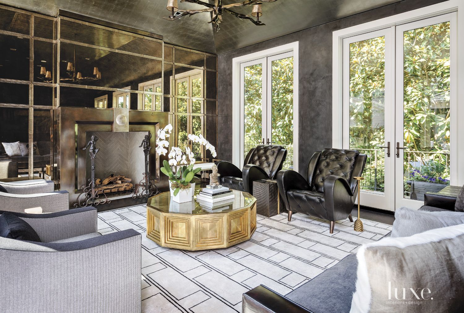 Contemporary Black Living Room with Cast-Glass Wall