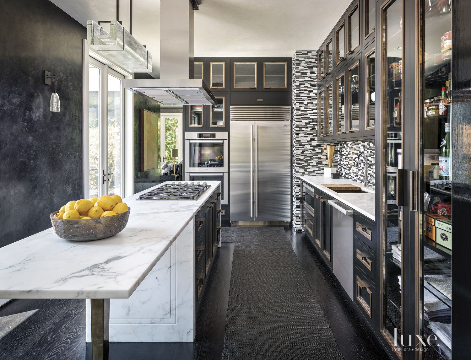 Contemporary Black Kitchen with Black Cabinets