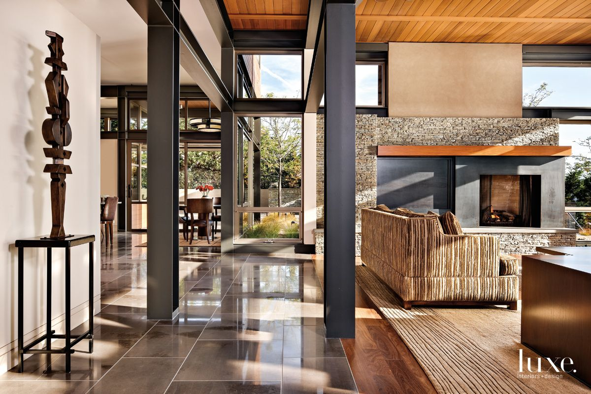 Contemporary Neutral Living Area Hall with Cumaru-Wood Flooring