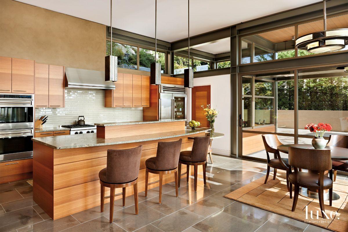 Contemporary Neutral Kitchen with Glass-Tile Backsplash